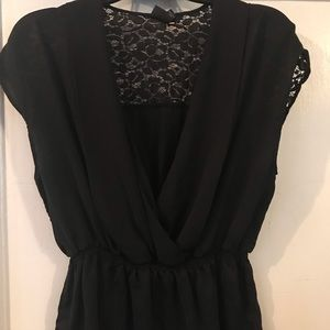 Black with lace back short sleeve blouse